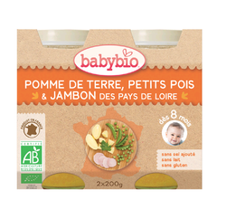 BABYBIO Pomme de Terre Petits Pois Jambon 2x200grs
