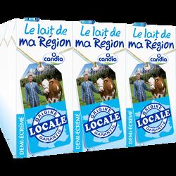 """Lait demi écrémé UHT """"Le Lait de ma Région"""" CANDIA, 6 briques de 1litre"""