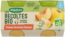Compotes bébé bio pommes nectarines dès 6 mois BLEDINA, les 2 pots de 130g