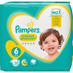 Couches prémium protection PAMPERS, 13-18kg geant taille 6, x31
