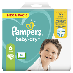 Couches baby dry PAMPERS 13-18kg mega taille 6 x70