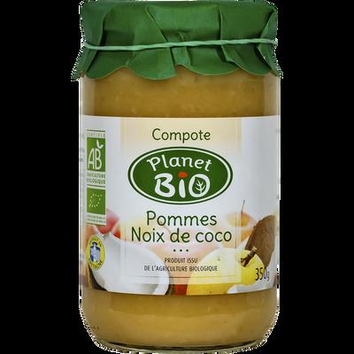 Compote  de pommes et noix de coco PLANET BIO, 350g