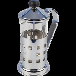 Théière inox avec piston bol en pyrex DILMAH, contenance 350ml