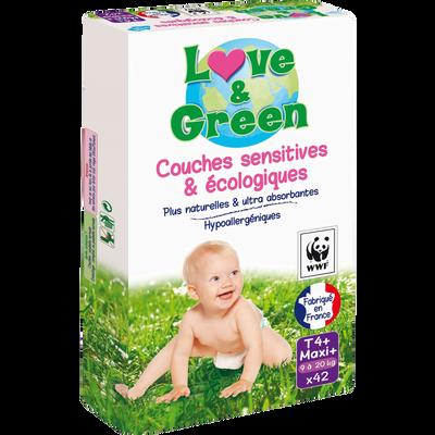 Couches sensitives et écologiques taille 4 LOVE&GREEN, x42