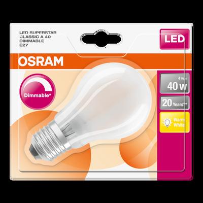 Ampoule led prémium OSRAM, ronde , 40W E27, verre filament givrée lumière chaude variateur