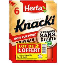 Saucisse de Strasbourg Knacki original sans nitrite HERTA, 6 pièces, 2+1 offert soit  630g