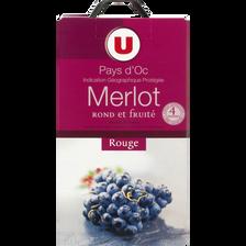 Pays d'Oc IGP Merlot rouge, U, fontaine à vin de 5 litres