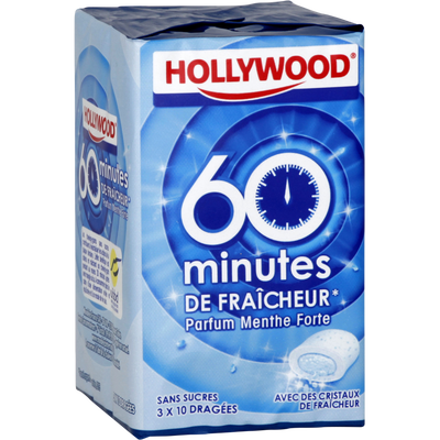 Chewing gums sans sucre 60 minutes de fraîcheur menthe forte HOLLYWOOD, dragées, 3x20g