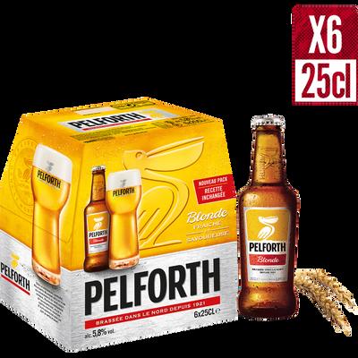 Bière blonde, PELFORTH, pack de 6 bouteilles de 25cl