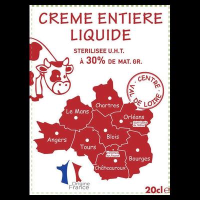 Crème UHT entière liquide, 30% de MG, Centre Val de Loire, 20cl