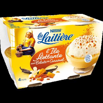 L'ile flottante + sachet caramel, LA LAITIERE, 4 pots de 100g