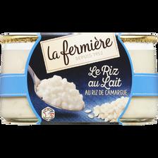 Riz au lait nature LA FERMIERE, 2 pots de 160g