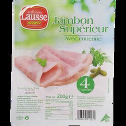Jambon cuit supérieur avec couenne, 4 tranches, soit 200g