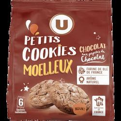 Petits cookies moelleux chocolat & pépites chocolat U, 210g