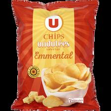 Chips ondulées saveur emmental U, sachet de 135g