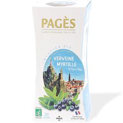 INFUSION VERVEINE MYRTILLE BIO Boîte de 20 Sachets - 36g PAGES INFUSIONS