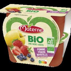 Dessert de fruits sans sucre ajouté bio pomme fraise myrtille MATERNE,4x100g