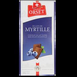 Tablette de chocolat au lait et éclats de myrtille ORSET, 100g