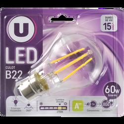 Ampoule LED déco ronde, U, 60w, B22 C