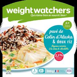 Pavé de colin, légumes cuisinés à la crème, ciboulette et deux riz WEIGHT WATCHERS, barquette micro-ondable de 300g