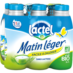 Lait UHT à teneur réduite en lactose Bio MATIN LEGER, 1,2% de MG, 6 bouteilles de 1 litre