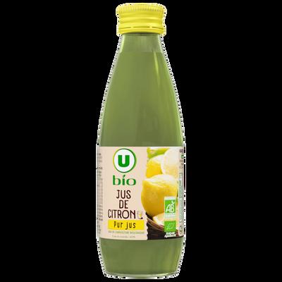 Jus de citron de sicile U BIO, bouteille de 25cl