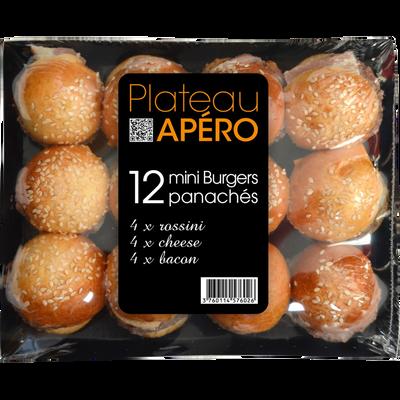 Minis burgers assortis PASO, plateau de 12 pièces, 540g