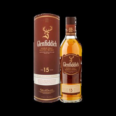 Scotch whisky single malt GLENFIDDISH réserve, 40°, 15 ansd'âge, 70clsous étui cuir
