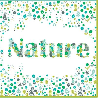 Serviettes U MAISON, 3 plis, en ouate, 33x33cm, nature vert, 30 unités