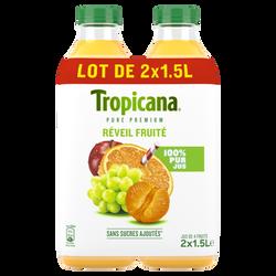 """Pur jus """"Réveil Fruité"""" TROPICANA Pur Prémium, 2 bouteilles de 1,5 litre Format familial"""