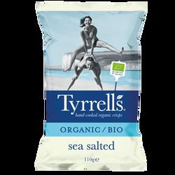 Chips bio pomme de terre salées au sel de mer TYRRELLS, paquet 110g