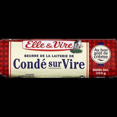 Beurre demi sel de laiterie de Condé sur Vire ELLE & VIRE, 80% de MG,roul eau de 250g