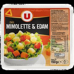 Dés de Mimolette et Edam au lait pasteurisé U, 24% de MG, 150g