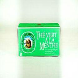 Thé vert à la menthe, LES 2 MARMOTTES, la boite de 30 sachets, 45g.