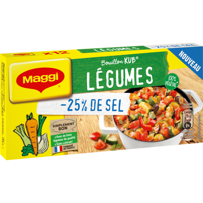 Bouillon de légumes KUB OR maggi -25% de sel 120g