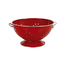 Passoire en acier revêtu diamètre 23cm hauteur 12cm rouge