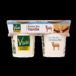 Yaourts bio au lait de brebis à la vanille VRAI, 2x125g