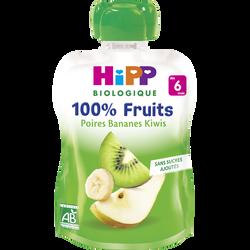 Gourde poires, bananes et kiwis bio HIPP, dès 6 mois, 90g