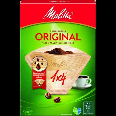 Filtres à café bruns n°1x4 MELITTA, 80 unités