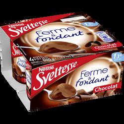 """Spécialité laitière sucrée saveur chocolat """"Ferme & Fondant"""" SVELTESSE, 1.3% de MG, 4x125g"""