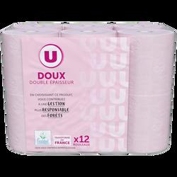 Papier toilette doux rose 2 plis U, x12 rouleaux