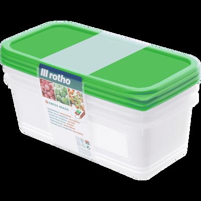 Boîte Domino Freeze ROTHO, 1,2l, avec couvercle vert, 3 unités