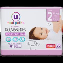 Couches douceur plus nouveaux-nés  taille 2 3/6kg U TOUT PETITS, x35