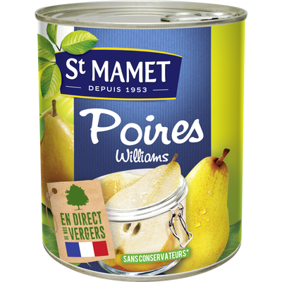 Poires williams au sirop SAINT MAMET, boîte 4/4, 465g