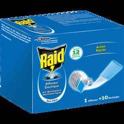 Diffuseur électrique plaquette inodore + recharge RAID, 10 plaquettes