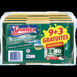 Gratte éponge microfibre zéro saleté & rayure SPONTEX x9+3 gratuits