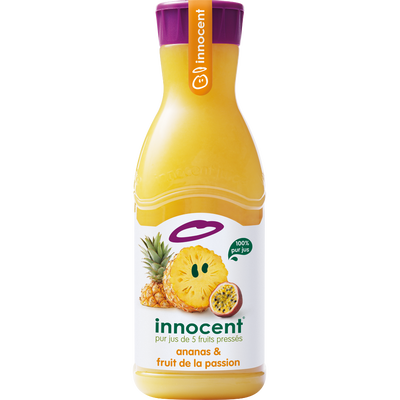Pur jus réfrigéré ananas/fruit de la passion INNOCENT, bouteille de 900ml