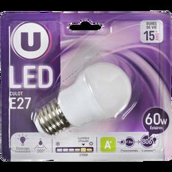 Ampoule LED mini ronde U, 60W, blanc chaud, culot E27, verre givré