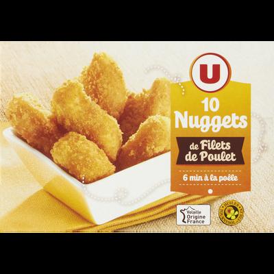 Nuggets de filet de poulet, U, France, 10 pièces, 200g