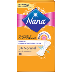 Protège-slips normal plat absorbant NANA, sachet de 34